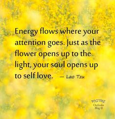 Energy flows where your attention goes. Just as the flower opens up to the light, your soul opens up to self love.