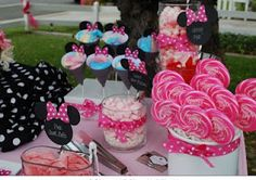 cute sweets table for minnie mouse themed party