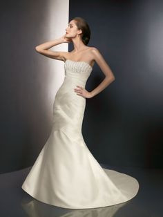 Trumpet/Mermaid Strapless Sleeveless Satin Wedding Dress #USAHS272