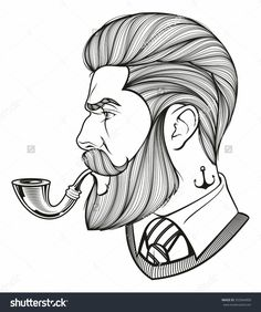 Hand drawn portrait of bearded man with pipe side-view