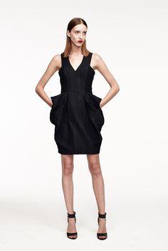 Monique Lhuillier | Resort 2015 | 23 Black brocade strappy mini dress