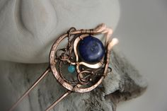 Hair fork, hair comb, copper, lapis jasper and amazonite hair pin, wire wrapped