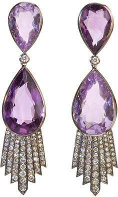 Deborah Pagani Rose of France, Amethyst & Grey Diamond Talula Earrings