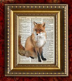 Vintage Art Print RED FOX on Antique 1881 Book by EncorePrints, $10.00