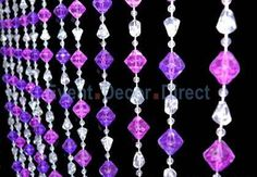 6ft Gemstone Purple Non-Iridescent Crystal Beaded Curtain - Event Decor Direct - North America's