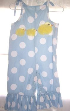 NWT Mud Pie Girl Chiffon Chick Longall 1 Piece Outfit 2T/3T Blue White Polka Dot Easter