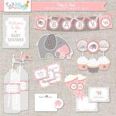 DIY Printable Baby Girl Shower  - .PDF digital files #babyshower #elephant