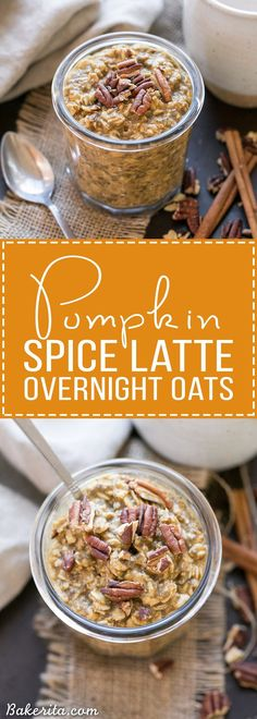 These Pumpkin Spice Latte Overnight Oats, with pumpkin puree and cinnamon, will help you start your morning deliciously! Prep only takes a few minutes and they can be enjoyed straight from the fridge or warmed up. #PumpkinDelight #IDelight