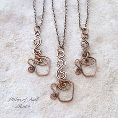 coffee cup necklace by Pillar of Salt Studio / copper jewelry / gift idea for her / coffee lover gift