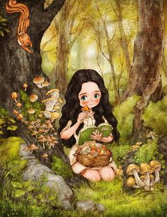 BoredPanda I'm an illustrator Aeppol who is painting little happiness in our daily life and small special things that we easily pass by. This is the diary of a forest girl. You can find my previous illustrations of simple everyday moments here. Forest Girl, Girly Art, Illustration, Forest Wallpaper, Cute Art, Forest Tattoos, Forest Painting, Forest Illustration, Cartoon Art
