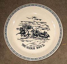 "CURRIER & IVES 10"" PIE PLATE "" THE SLEIGH RACE """