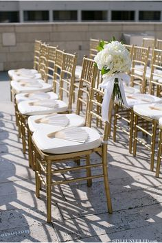 gold chiavari chairs and fans a los angeles wedding at the walt disney concert hall - Gold Chiavari Chairs