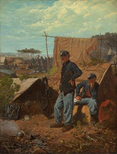 """In Winslow Homer's """"Home, Sweet Home,"""" one of the most popular paintings of the Civil War, soldiers who live in tents listen to the regimental band play the nostalgic song of the title. (Smithsonian American Art Museum)"""