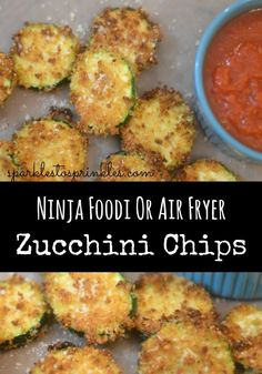 Ninja Foodi or Air Fryer Zucchini Chips are so easy to make and delicious. Just another one of the many reasons you need a Ninja Foodi. Air Fry Recipes, Ninja Recipes, Air Fryer Recipes Easy, Healthy Recipes, Grilling Recipes, Cooking Recipes, Cooking Ideas, Healthy Snacks, Cooking Photos