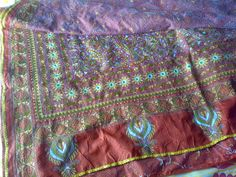 Saree emrbroided in traditional indian embroidery Kantha from West Bengal