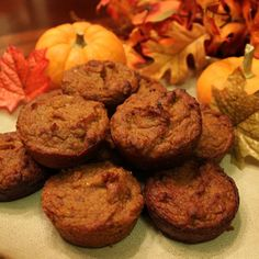 Pumpkin Muffins - almond butter, almond flour, and raw honey make these muffins a healthy, delicious, gluten-free treat!