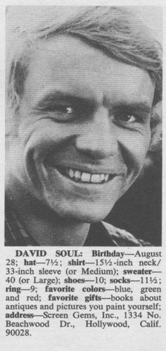 David Soul - 16 Magazine - October, 1969