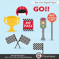 Race Cars Digital Clipart / Racing Cars For by ClipArtopia on Etsy