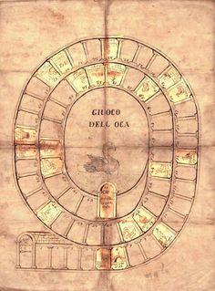 """""""ARIANNA""""- Giuoco dell'Oca – Game of the Goose Anonimo, 1550 – 1600. Disegnato a mano - Hand-drawn, 600 x 450 Collezione L. Ciompi (Gioco dell'Oca Classico)"""