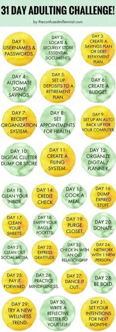 """*could this be weekly, not daily? """"31 day adulting challenge, how to get your life together as an adult."""""""