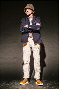 Engineered Garments AW14 Look, I think I might just take note of how to turn up a long trouser from this look. I have always had trousers cropped or hemmed short but this is quite interesting. Great look!