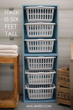 Stacked laundry bins for the laundry room...dimensions included (in pdf form too!). Going to be doing this!