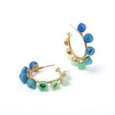 Blue/green fade hoops | Contemporary Earrings by contemporary jewellery designer Jenny Llewellyn