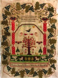 Sampler, worked in coloured wools, pictorial Adam and Eve with grape vine border by Elizabeth Rachel Le Gresley (10 years) 1843