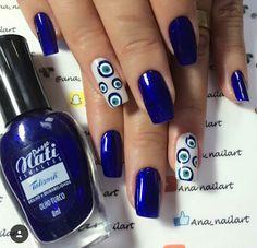 Blue Nail Art Ideas for 2018 - Top 150 Designs - Our Nail Polka Dot Nails, Blue Nails, My Nails, Square Oval Nails, Dot Nail Designs, Classic Nails, Artificial Nails, Fabulous Nails, Nail Polish Colors