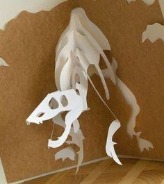 Kirigami Raptor Bobblehead Pop-up Card, Make Yourself