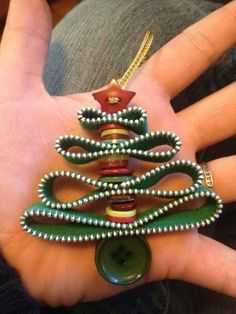 Christmas tree ornament of buttons and zippers @whitestuff #wscrafting