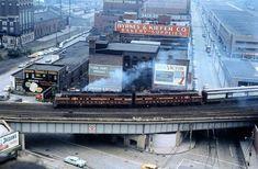 E units in Pittsburgh, PA, including a B & O headend unit. Gandy Dancer, Pennsylvania Railroad, New York Central, Model Train Layouts, Pittsburgh Pa, Ann Arbor, Model Trains, Castle, Landscape