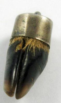 "Good Luck Talisman Symbol Animal Foot Hoof Vintage Sterling Silver Charm -1"" long (tiny hoof ....) (!!)"