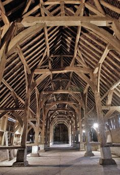 John Betjeman named this singularly spectacular medieval barn the 'Cathedral of Middlesex'. Built in 1426 and used to store grain it was just bought for by English heritage. Wood Architecture, Victorian Architecture, Beautiful Architecture, Beautiful Buildings, Architecture Details, Medieval Houses, Timber Structure, Old Barns, Architectural Elements