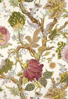 Indian Arbre Spring Fabric 175782 by Schumacher Fabrics Design Textile, Textile Patterns, Textiles, Decoupage, Illustration Blume, Art Chinois, Art Japonais, Indian Patterns, Japanese Embroidery