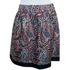 Pre-owned Vineyard Vines Silk Paisley Print Ceezee Mini Skirt ($75) ❤ liked on Polyvore