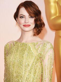 Emma Stone wearing Revlon Ultra HD Lipstick in HD Tulip