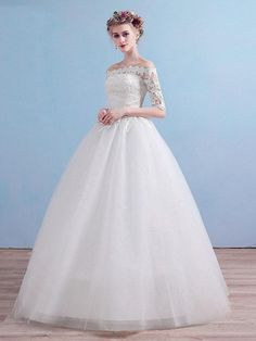 Elegant Off-the-Shoulder Long Sleeves Lace Ball Gown Wedding Dresses — Bridelily Tulle Skirt Wedding Dress, Ivory Lace Wedding Dress, Wedding Dress Sleeves, Affordable Wedding Dresses, Wedding Dress Styles, Wedding Gowns, Lace Ball Gowns, Ball Dresses, Party Dresses