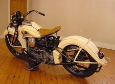 Photo of 1939 vintage Indian four cylinder motorcycle.
