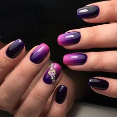 Evening nails by gel polish, Ideas of evening nails, Ideas of gradient nails, Nails with rhinestones, Nails with rhinestones ideas, Obmre nails, Ombre nails, Summer gradient nails