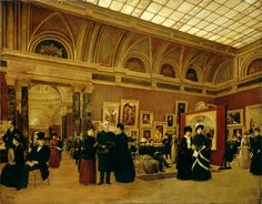 The National Gallery 1886, Interior of Room 32 1886, Giuseppe Gabrielli  On loan from the Government Art Collection, © Crown copyright: UK Government Art CollectionAlmost nothing is known about this artist.  The painting shows visitors in the North room of the Barry block, a suite of sumptuously decorated rooms opened at the National Gallery in 1876. This palatial space was always intended for the display of large-scale works of art and today holds 17th-century Italian Baroque paintings.