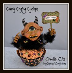 Artwork by LeeAnn Kress of Charmed Confections.  Candy Crying Cyclops. For more artwork by Charmed Confections go to www.charmedconfections.blogspot.com --- SOLD