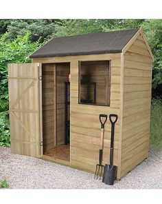 Forest Overlap Pressure 6 x 4 Reverse: Forest Overlap Pressure 6 x 4ft reverse apex shed features a single door located on the side,…
