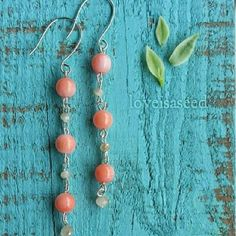 Bamboo Coral Earrings by Love is a Seed by LoveisaSeed on Etsy, $20.00