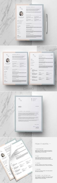 CV Design & Cover Letter / Melanie by This Paper Fox on @creativemarket