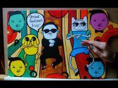 Oppan Gangnam style XD  acrylic/ canvas (manga pop art)  Liz Mogollon   http://www.lizmogollon.com/  http://www.cursosdemanga.com