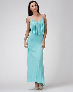 Mint maxi dress with spaghetti straps and a fringe top is great for a hot summer day beside the water.