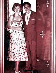 Lucille Ball and Desi Arnaz. Love her dress! I Love Lucy Show, Vivian Vance, Lucille Ball Desi Arnaz, Lucy And Ricky, Celebs, Celebrities, Ball Dresses, Old Hollywood, Hollywood Couples