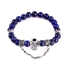 Royal Blue Lapis Lazuli with Silver Cross Charm