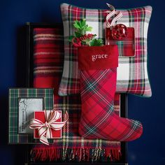 Tartan Wool Throw with Fringe, Wilkes Tartan Christmas, Country Christmas, All Things Christmas, Christmas Themes, Christmas Stockings, Christmas Crafts, Christmas Decorations, Preppy Christmas, Outdoor Christmas